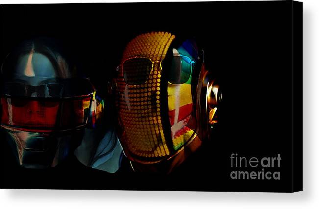 Tron Paintings Mixed Media Canvas Print featuring the mixed media Daft Punk Pharrell Williams by Marvin Blaine