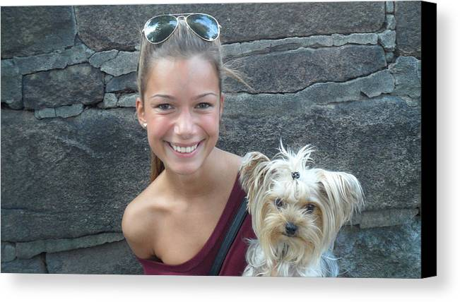 Dog And Friend Canvas Print featuring the photograph Dog And True Friendship 5 by Teo SITCHET-KANDA