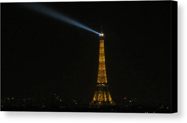 Eiffel Tower Canvas Print featuring the photograph Eiffel Tower At Night by Rashi Chaturvedi