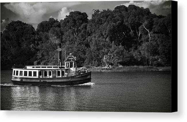 Black And White Canvas Print featuring the photograph Ferry by Mario Celzner