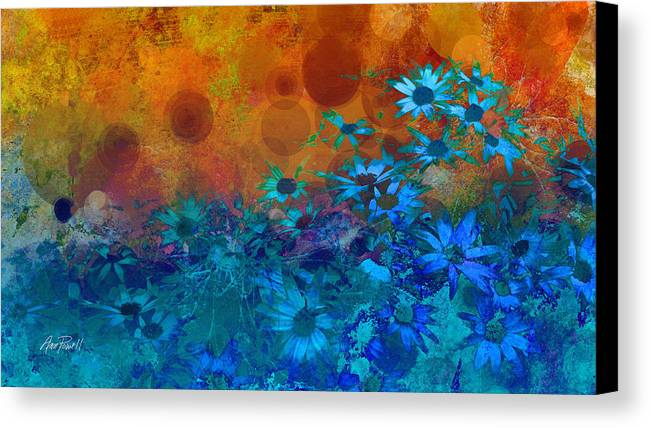 Flower Canvas Print featuring the photograph Flower Fantasy In Blue And Orange by Ann Powell