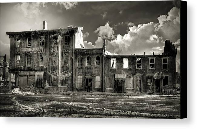 Lost In Fire Canvas Print featuring the photograph Ghost Of Our Town by Jaki Miller
