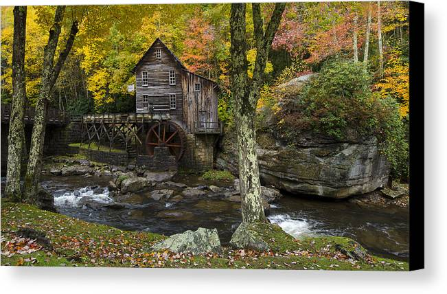 Glade Creek Grist Mill Canvas Print featuring the photograph Glade Creek Grist Mill by Michael Donahue