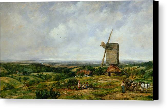 Children Canvas Print featuring the painting Landscape With Figures By A Windmill by Frederick Waters Watts