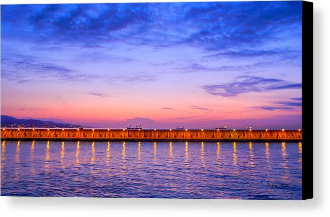 Malaga Pink And Blue Sunrise Canvas Print featuring the photograph Malaga Pink And Blue Sunrise by Debra Martz