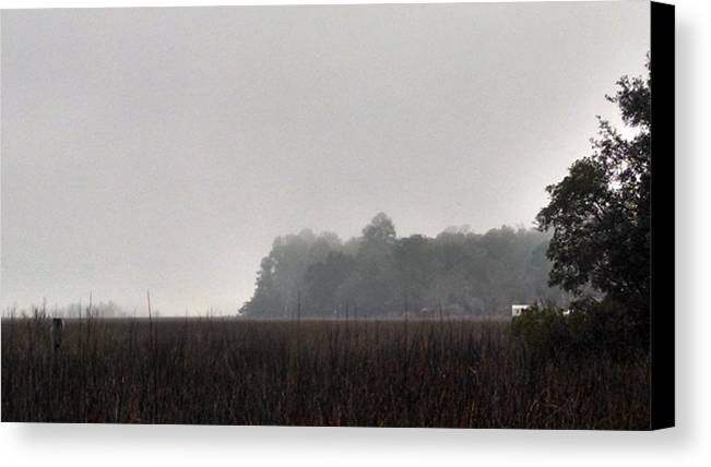 Landscape Canvas Print featuring the photograph Mist On Marsh With Cabin by Nadia Korths