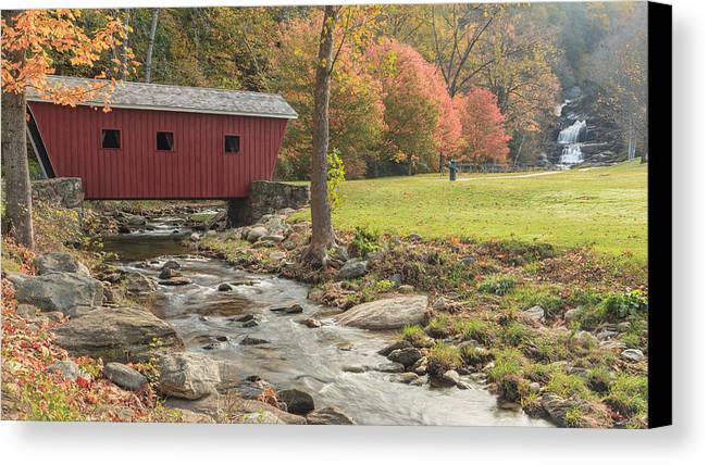 Covered Bridge Canvas Print featuring the photograph Morning At The Park by Bill Wakeley