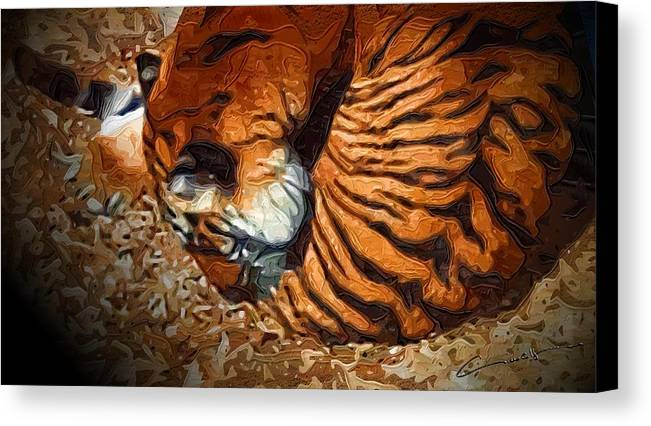 Tiger Canvas Print featuring the digital art Nestled Tiger by Michael Hurwitz