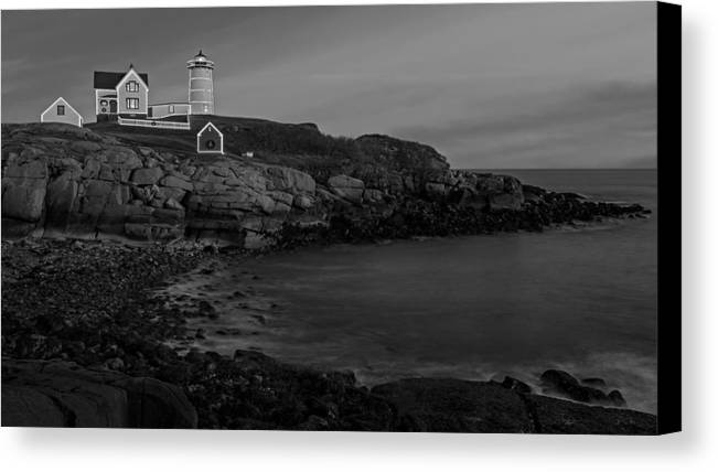 Nubble Lighthouse Canvas Print featuring the photograph Nubble Light At Sunset Bw by Susan Candelario