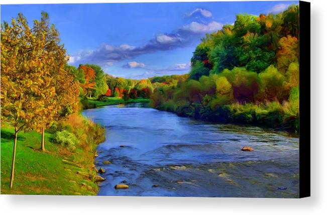 Landscape Canvas Print featuring the painting October On The Cuyahoga by Dennis Lundell