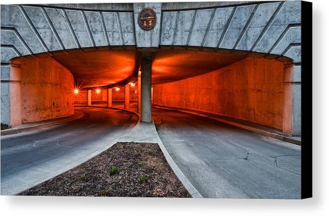 Orange Garage Canvas Print featuring the photograph Orange Parking Garage by Berkehaus Photography