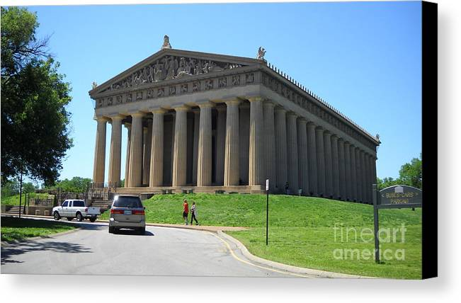 Parthenon Canvas Print featuring the photograph Parthenon In Nashville by Paula Talbert