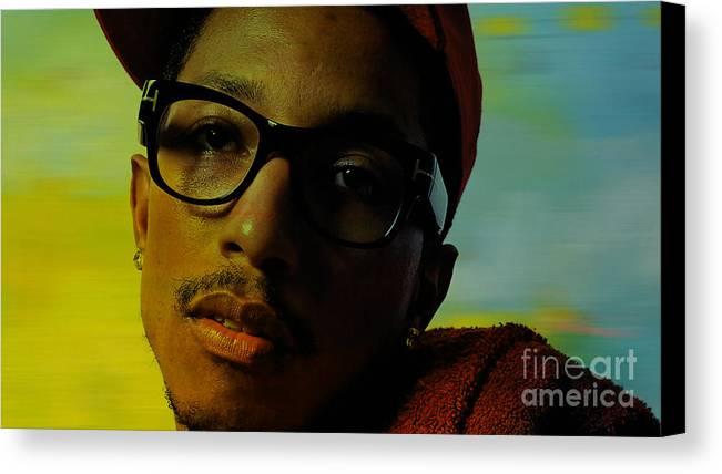 Ron Paintings Mixed Media Mixed Media Canvas Print featuring the mixed media Pharrell Williams by Marvin Blaine