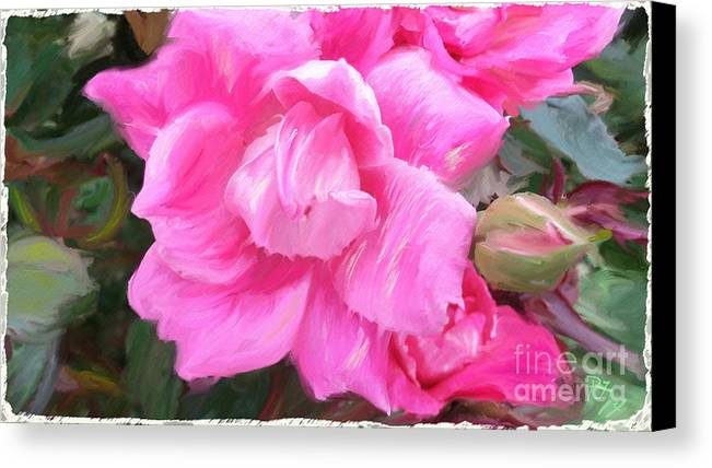 Peggy Franz Photography Canvas Print featuring the photograph Pink Rose Painting by Peggy Franz