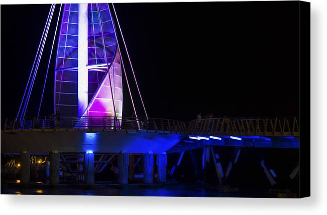 Night Canvas Print featuring the photograph Puerto Vallarta Pier by Aged Pixel