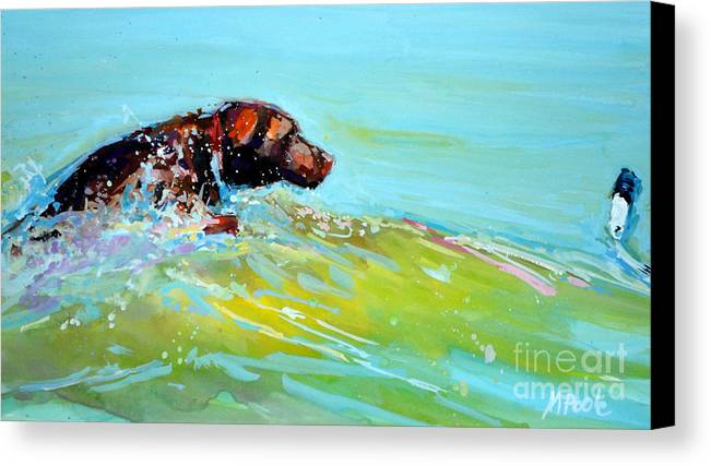 Chocolate Labrador Retriever Canvas Print featuring the painting Reach by Molly Poole