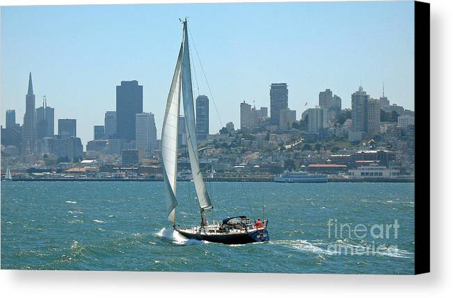 Sails Canvas Print featuring the photograph Sailors View Of San Francisco Skyline by Connie Fox