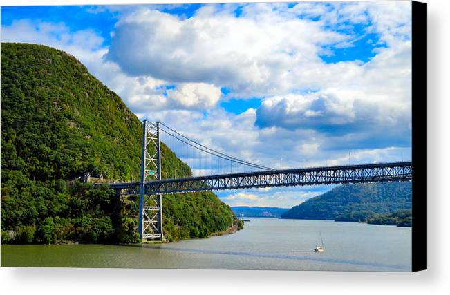 Sky Canvas Print featuring the photograph Spanning The Hudson River by Art Dingo
