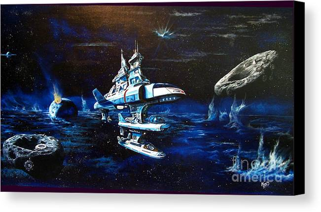 Alien Canvas Print featuring the painting Stellar Cruiser by Murphy Elliott