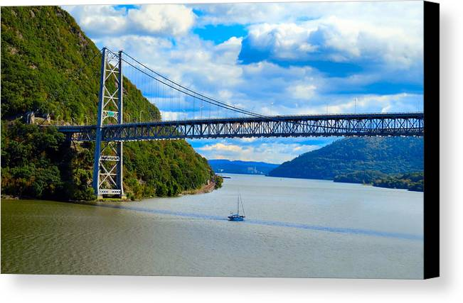 Sky Canvas Print featuring the photograph Tappan Zee Span by Art Dingo