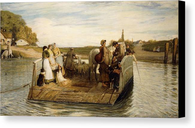 Animal Canvas Print featuring the painting The Ferry by Robert Walker Macbeth