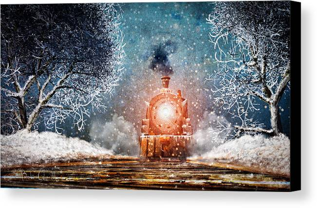 Train Canvas Print featuring the mixed media Traveling On Winters Night by Bob Orsillo