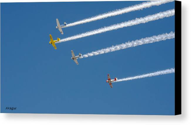 Veterans Day Canvas Print featuring the photograph Veterans Day Flyover - Overhead by Allen Sheffield