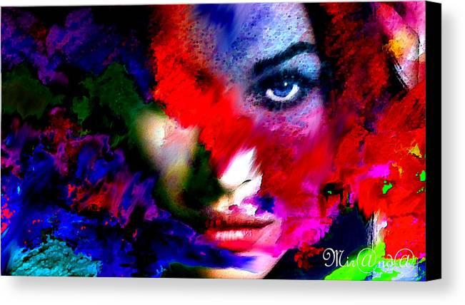 Miranda Van Wesel Canvas Print featuring the digital art Watching You Through Color by Miranda Van Wesel