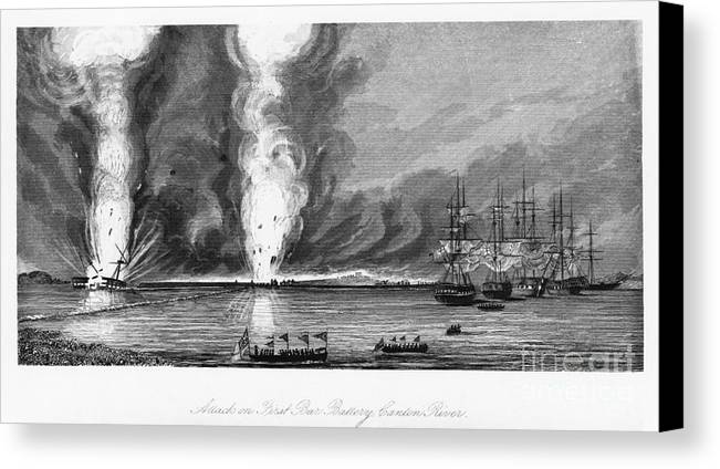 1843 Canvas Print featuring the photograph First Opium War, 1841 by Granger