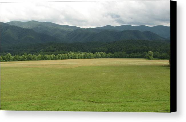 Smokey Canvas Print featuring the photograph A Smokey Mountain View by David Brown
