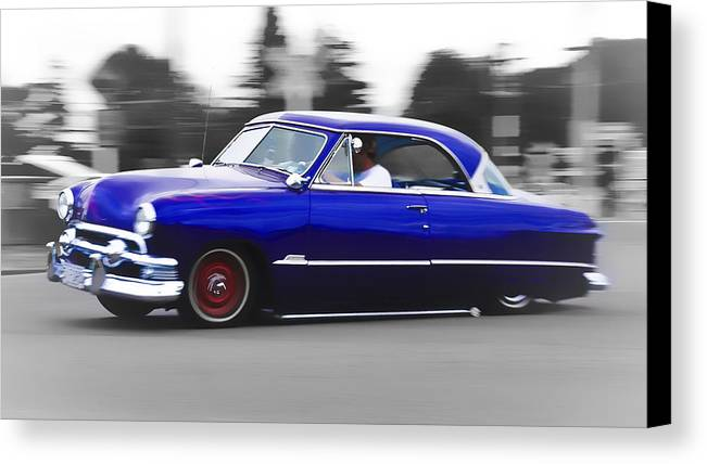Ford Customline Canvas Print featuring the photograph Blue Ford Customline by Phil 'motography' Clark