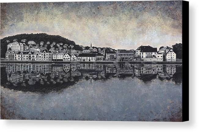 Seascape Canvas Print featuring the drawing Farsund Waterfront by Janet King