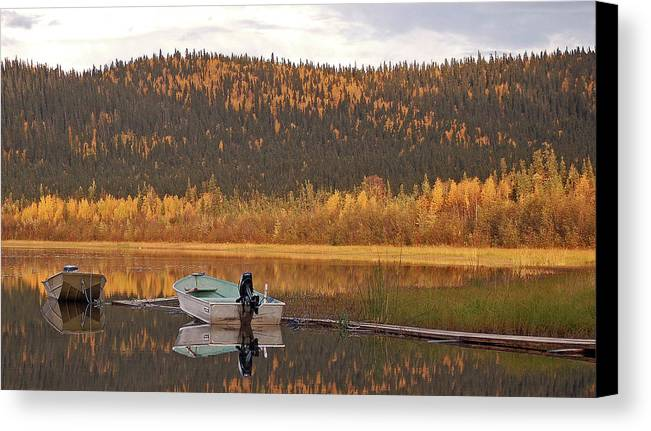 Harding Lake Canvas Print featuring the photograph Peaceful Harding Lake by Jim and Kim Shivers