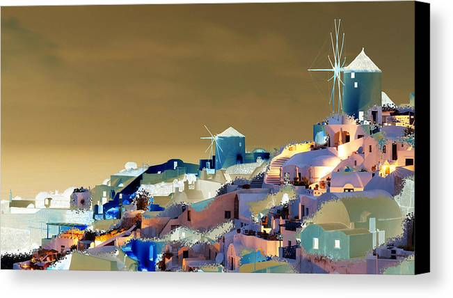 Nature Canvas Print featuring the digital art Santorini by Ilias Athanasopoulos