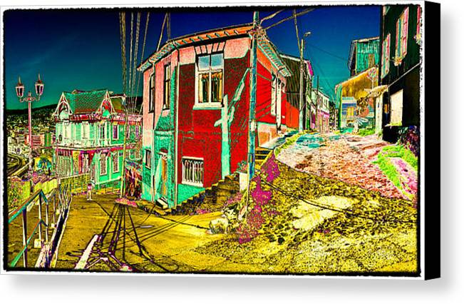 Valparaiso Canvas Print featuring the photograph Streets Of Valparaiso by Peter Crass