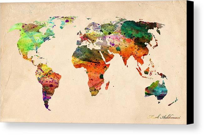Landmark Canvas Print featuring the digital art Watercolor World Map by Mark Ashkenazi