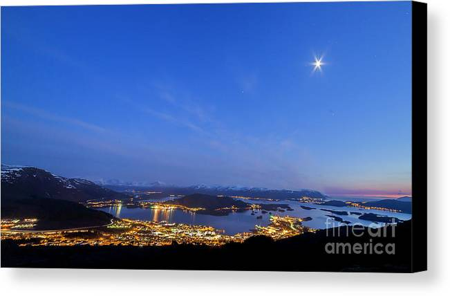 Ulsteinvik Canvas Print featuring the photograph Ulsteinvik City by Arild Lilleboe