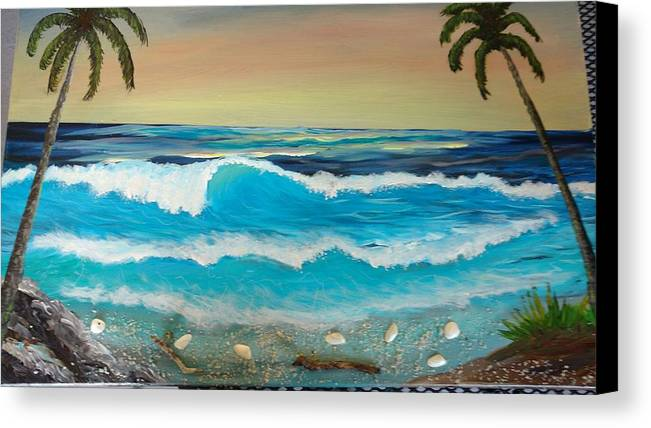 Tropical Beach Sciens .ocean Canvas Print featuring the painting 2 Palms Orange Sunset by David Meeks