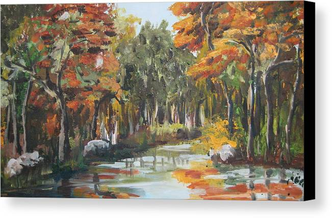 Landscape Canvas Print featuring the painting Autumn In The Woods by Mabel Moyano