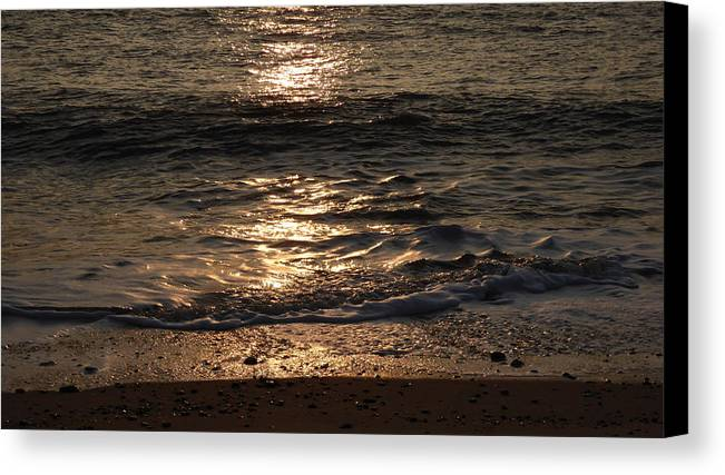Sun Canvas Print featuring the photograph Sunrise Ocean Wave Reflection 1 by Richard Griffin
