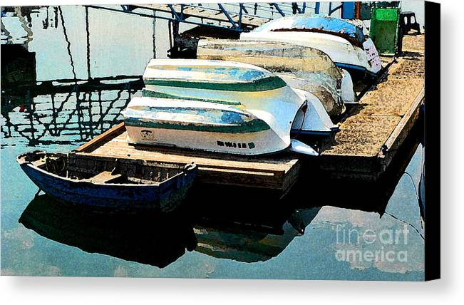 Boats Canvas Print featuring the photograph Boats In Waiting by Larry Keahey