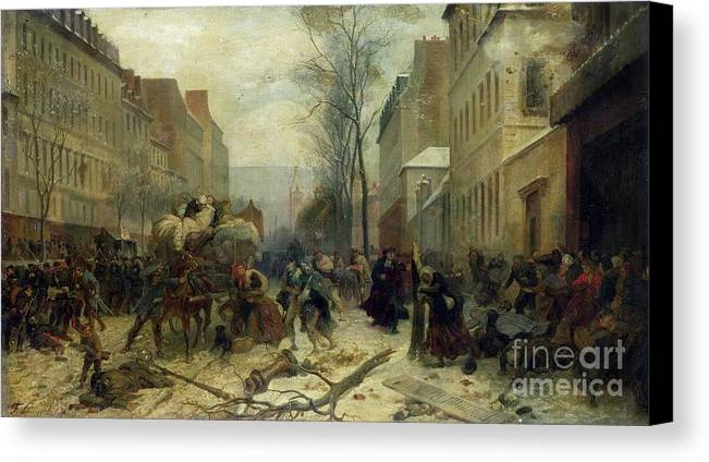 Bombardment Canvas Print featuring the painting Bombardment Of Paris In 1871 by Felix Philippoteaux