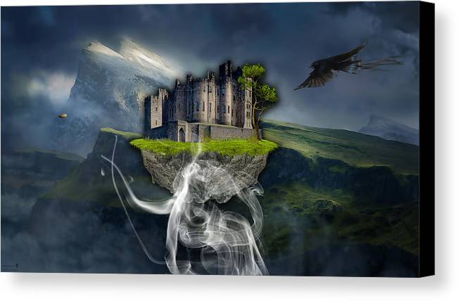 Castle Canvas Print featuring the mixed media Castle In The Sky Art by Marvin Blaine