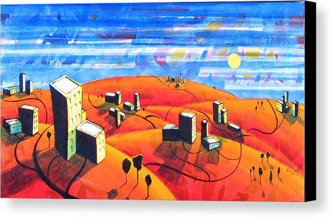 Landscape From Above Canvas Print featuring the painting Cities And Towns by Rollin Kocsis