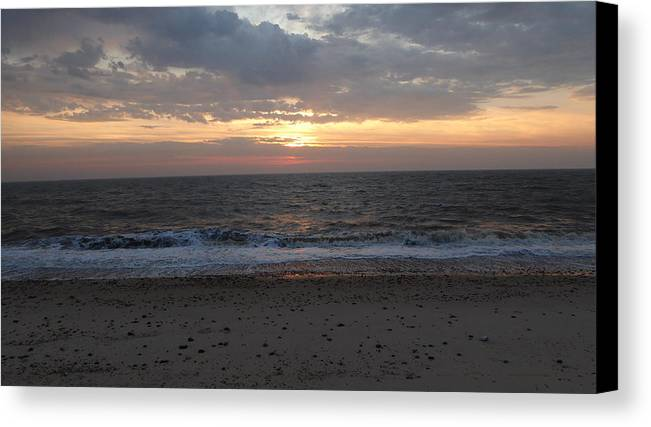 Sunrise Canvas Print featuring the photograph Corton Beach Emerging Ocean Sun 1 by Richard Griffin