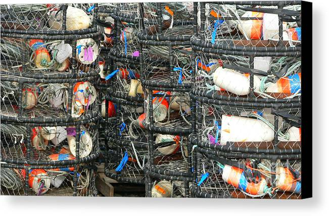 Crabs Canvas Print featuring the photograph Crab Traps by Larry Keahey