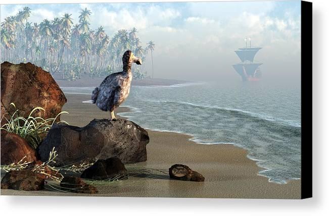 Dodo Canvas Print featuring the digital art Dodo Afternoon by Daniel Eskridge