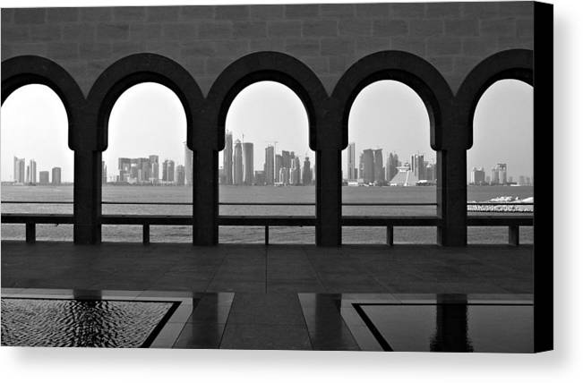 Horizontal Canvas Print featuring the photograph Doha Skyline From Museum by Gregory T. Smith