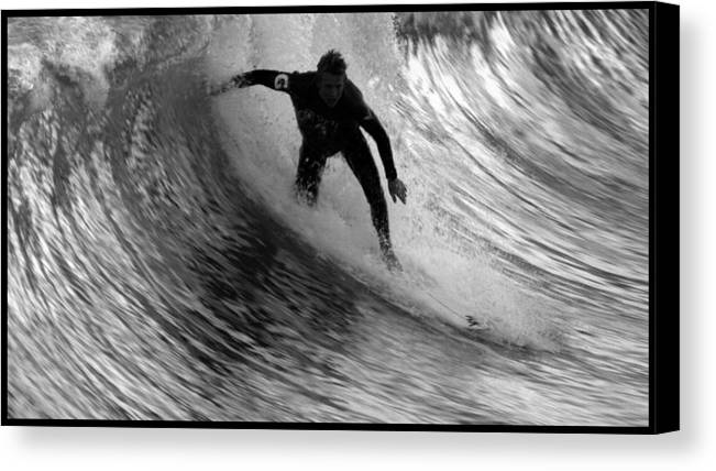 Dropping In At San Clemente Pier Canvas Print featuring the photograph Dropping In At San Clemente Pier by Brad Scott