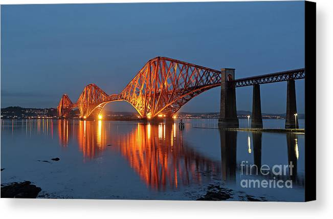 Firth Of Forth Railway Bridge Canvas Print featuring the photograph Forth Bridge At Twilight by Maria Gaellman